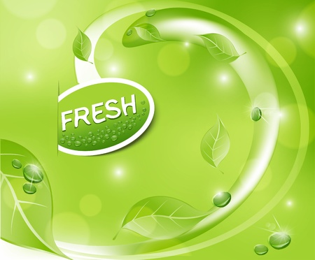 juice: green fresh background with leaves and drops Illustration