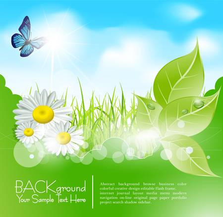 spring banner with  leaves and grass against the blue sky Vector
