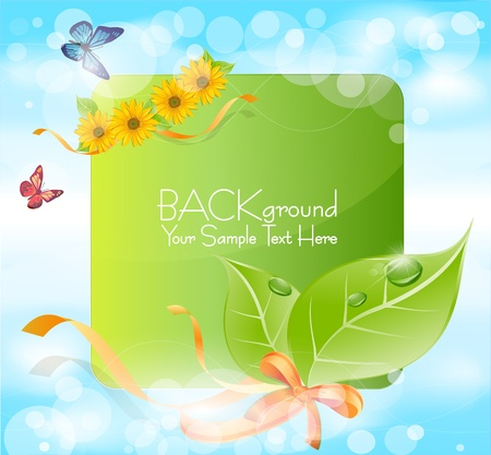 spring banner with leaves, grass, ribbons against the blue sky Vector