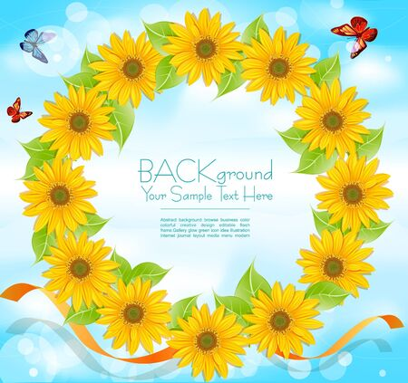 wreath of sunflowers with butterflies on a background of blue sky Vector