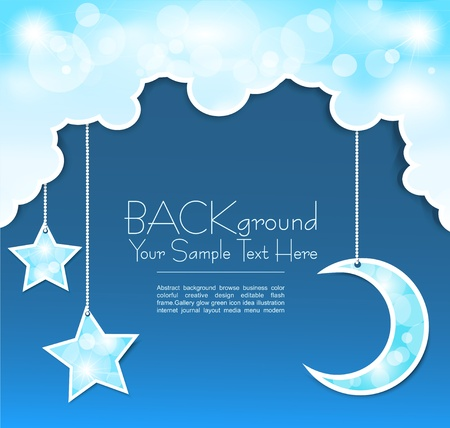 blue background with clouds, the new moon and the stars Stock Vector - 9616576