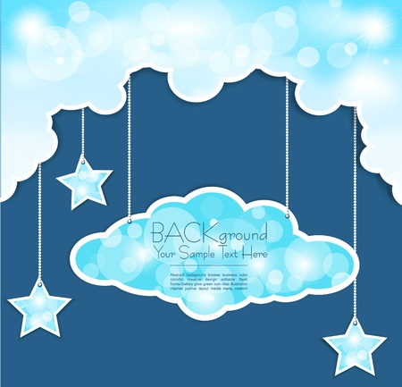 blue background with clouds and the stars Stock Vector - 9616578