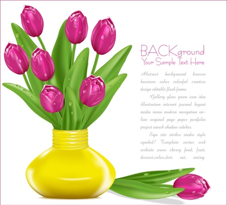 flowers in vase: pink tulips with drops of dew in a yellow vase Illustration