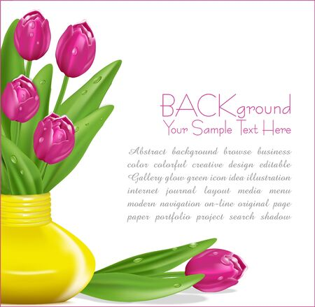 pink tulips with drops of dew in a yellow vase Vector