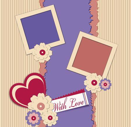 photo album page: Fondo de felicitaci�n con dos marcos. flores y corazones Vectores