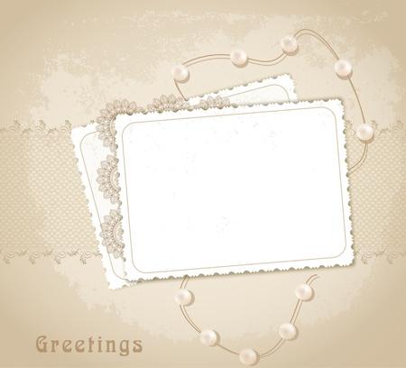 arrière-plan rétro de félicitation avec des rubans, perles, bow