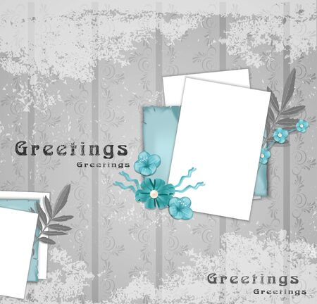 greeting background with flowers and leaf Vector