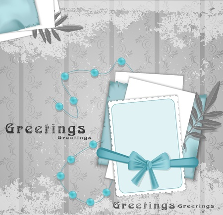 greeting background with beads, ribbon and leaf Vector