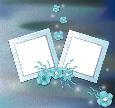 floral congratulatory background with a two frame Vector