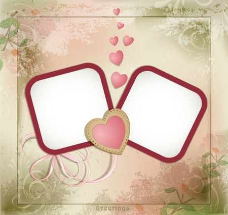 vintage grunge background with two frames and hearts Illustration