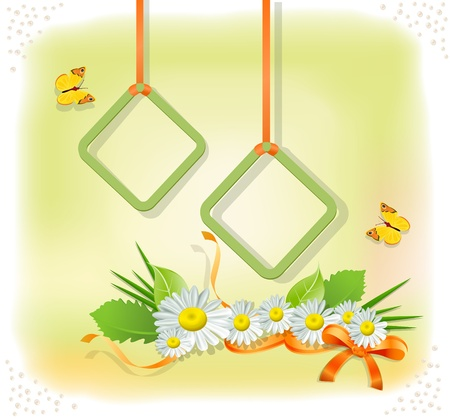 colorful background with two frames, daisies and butterflies Vector