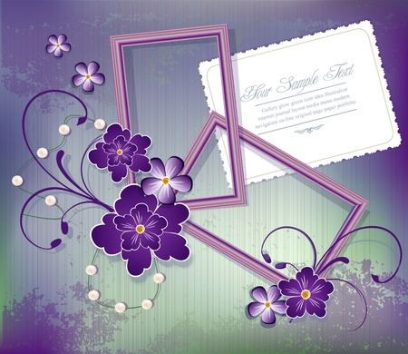 purple background with flowers , two frames for photos and greeting cards Stock Vector - 9716601