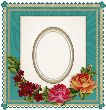 victorian border: Vectors of the background with an oval frame for the photo and roses