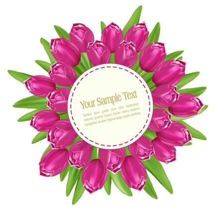 pink tulips: bouquet of tulips with a round greeting cards on a white background