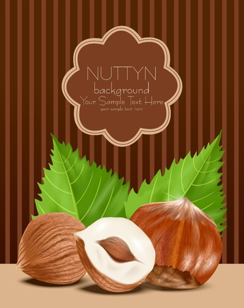 nutty: hazelnut kernels with the leaves on a brown, striped background