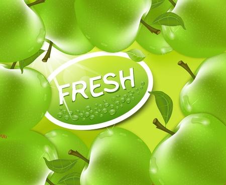 fresh apple background Stock Vector - 9817936