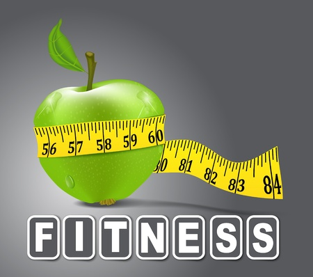 green apple sport, measured the meter on a gray background