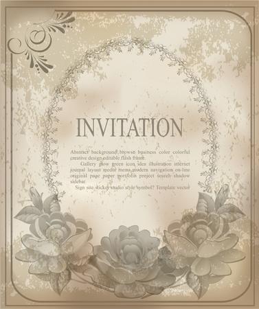 Jahrgang alten Hintergrund mit Rosen auf einem verblasste Papier