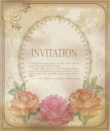 vintage old background with  roses on a faded paper