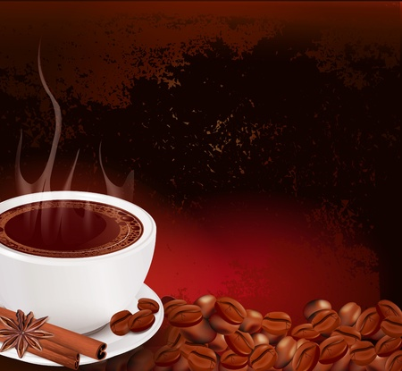 steaming cup of coffee with cinnamon and anise on grunge background Stock Vector - 9817938
