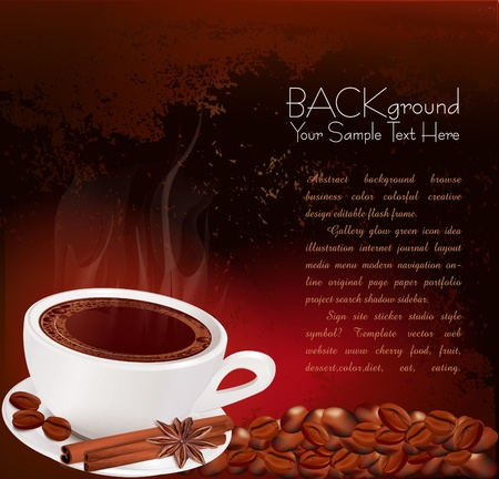 steaming cup of coffee with cinnamon and anise on grunge background Stock Vector - 9817940