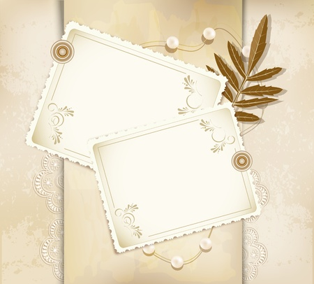 grunge, vintage background with a greeting card, pearls, flowers Illustration