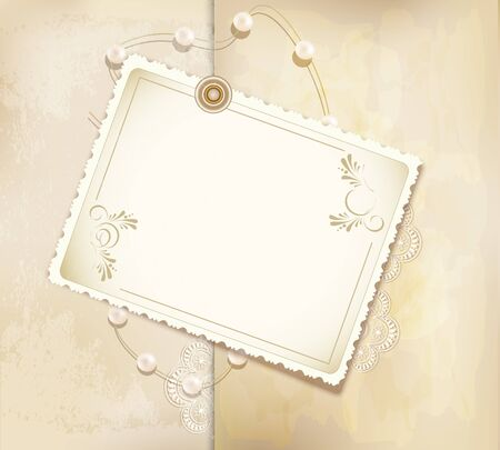 congratulation gold retro background with ,pearls, lace, lette Vector