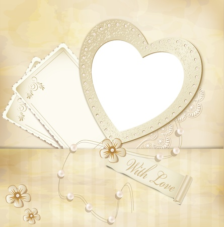 vintage, grunge background with frame for photos in the form of heart