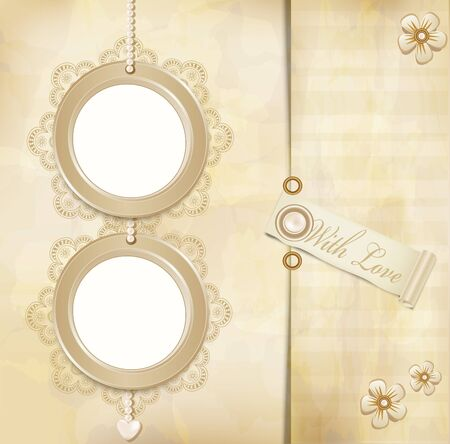 vintage, grunge background with two round photo frames and lace Vector