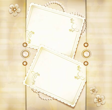 congratulations gold retro background with ,pearls, lace, lette Vector