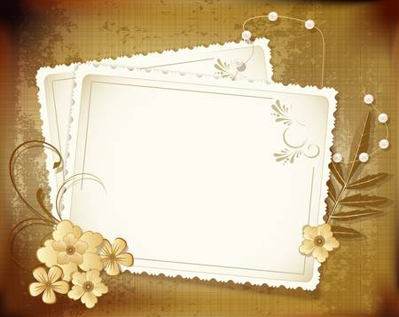 grunge, vintage background with a greeting card, pearls, flowers Vector