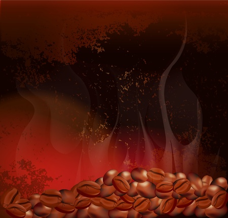 expresso: steaming coffee beans on the background of grungy wall Illustration