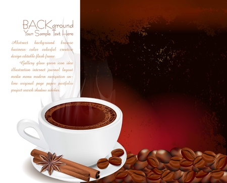 steaming cup of coffee with cinnamon and anise on grunge background Vector