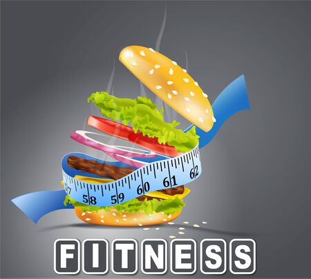 nutrition and health: steaming hamburger wrapped the measuring tape on a gray background Illustration