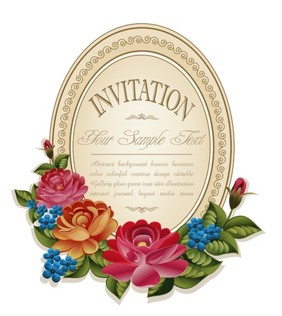 vintage old frame and faded paper with roses on a white background