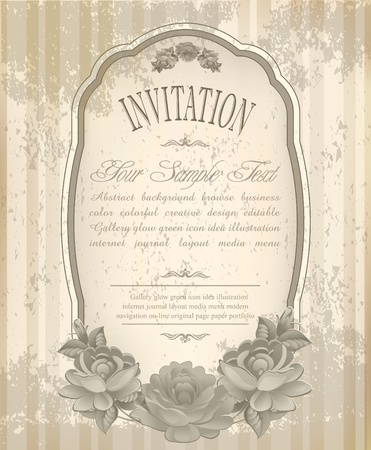 vintage old background with  roses on a faded paper Vector