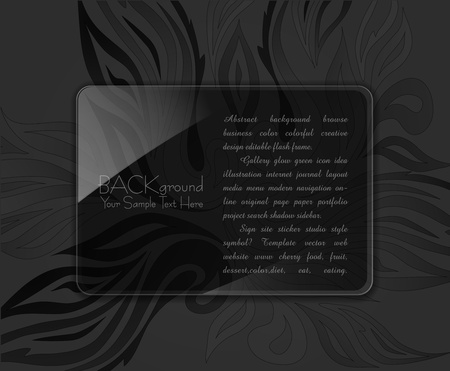 abstract background with a glass panel on a black background with ornament Stock Vector - 9817973