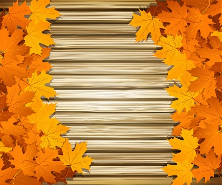 fall background: Vector autumn leaves on the background of a wooden wall