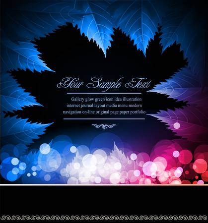 vetorny abstract black background with neon leaves and blur Vector