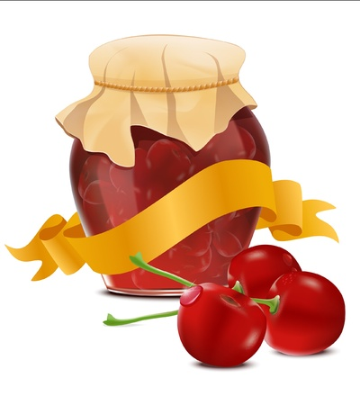 confiture: vector  jar of cherry jam and a ribbon
