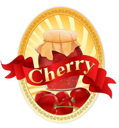 vector label with a jar of cherry jam and a ribbon Stock Vector - 9930536