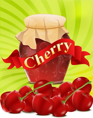 confiture: vector a can of cherry jam with red ribbon on green background Illustration