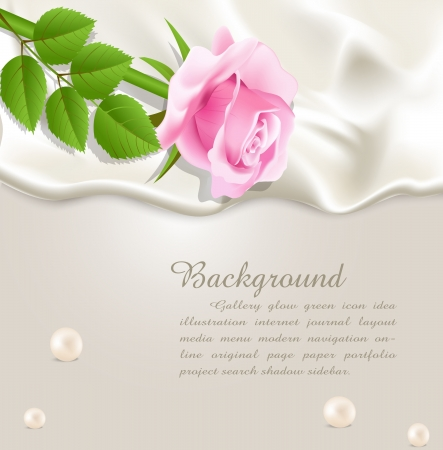 Elegant holiday vector background with silk, pearls and a pink rose Vector