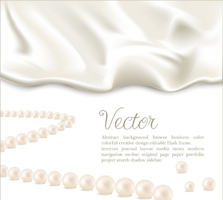 silk: Elegant holiday vector background with white silk and pearls