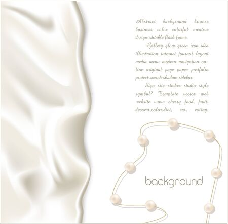 보석: Elegant holiday vector background with white silk and pearls