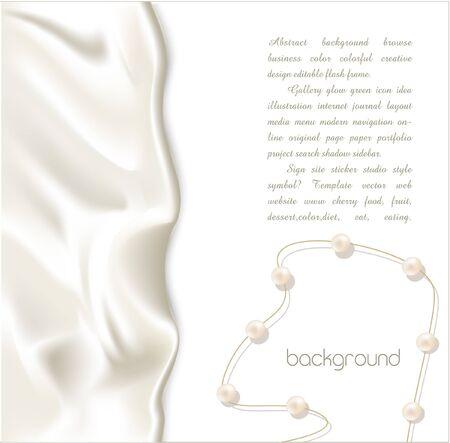 perlas: Fondo de vector de vacaciones elegante con seda blanca y perlas Vectores
