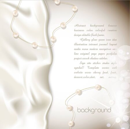 white silk: Elegant holiday vector background with white silk and pearls