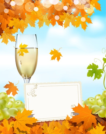 grapes and a glass of wine standing on a wooden table with a greeting card, the blue sky and autumn maple leaves Vector