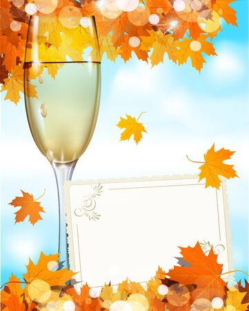 merlot: a glass of wine standing on a wooden table with a greeting card, the blue sky and autumn maple leaves