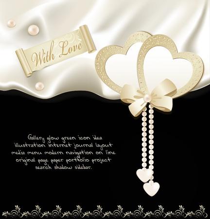 Fondo de vacaciones con seda negra, dos corazones y perlas